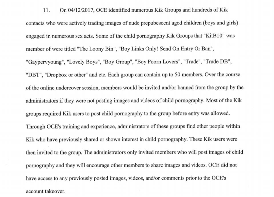 Search warrant details undercover operation on Kik.