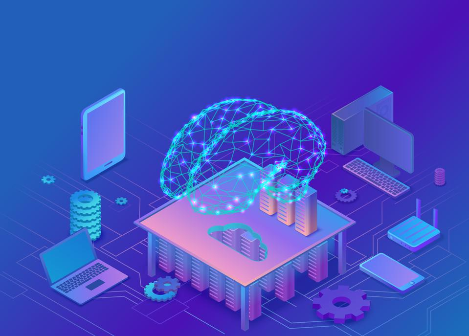 Artificial intelligence concept with electric brain and neural network, isometric 3d illustration with smartphone, laptop, mobile gadget, modern data storage banner, landing page background Artificial intelligence concept with electric brain and neural network, isometric 3d illustration with smartphone, laptop, mobile gadget, modern data storage banner, landing page background