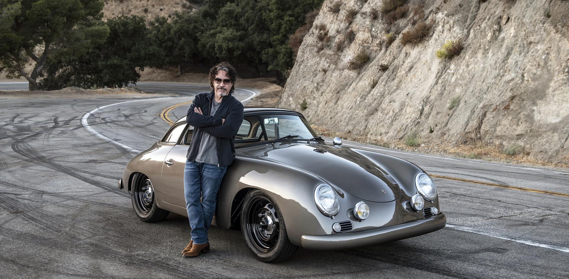 "He Can Go For That: John Oates with his 1960 Porsche 356. Rod Emory, owner of Emory Motorsports, took a 356 ""barn find"" and turned it into this stunning version."