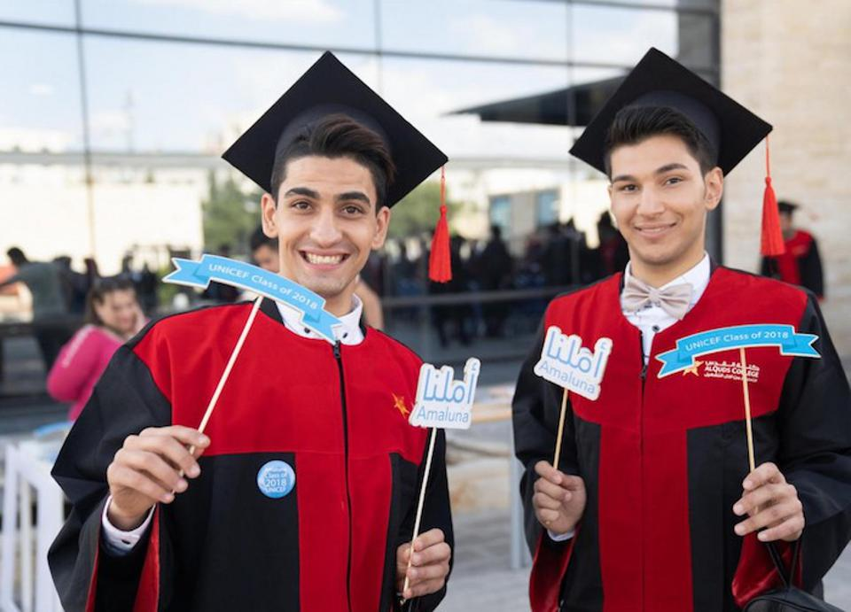 Friends Mohammad and Mohammad graduated from the Amaluna vocational training program on a UNICEF scholarship in Jordan in May 2018.
