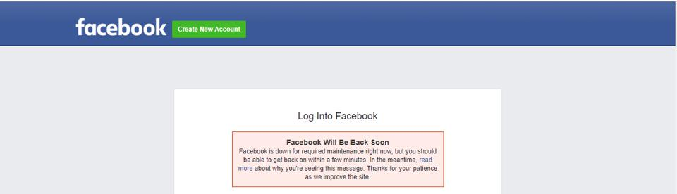 Facebook outage message
