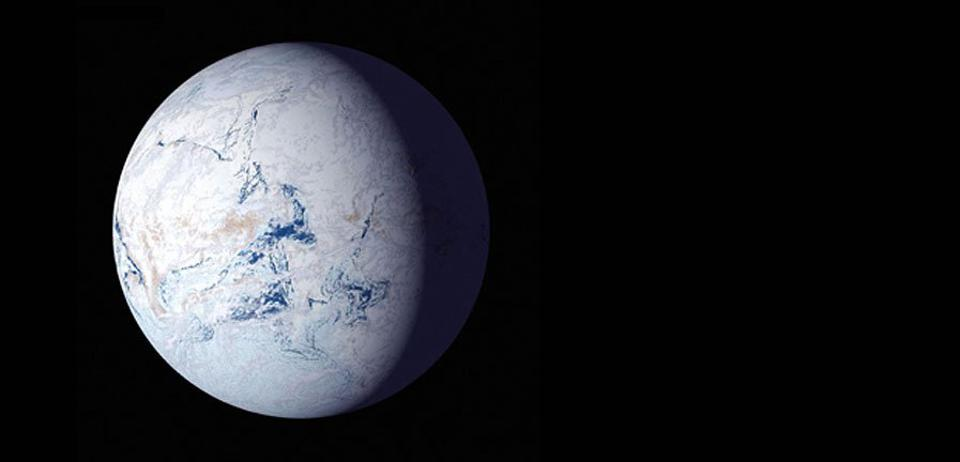 A depiction of ″snowball Earth,″ where Earth was almost completely frozen over for a time.
