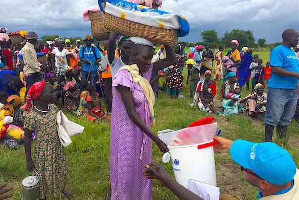 UNICEF staff distribute buckets, soap and water purifiers to pregnant women and breastfeeding mothers in South Sudan, where years of conflict have created a water and malnutrition crisis.