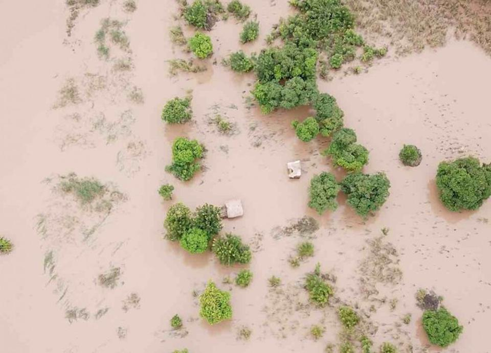 Cyclone Idai flooding has transformed the landscape in parts of Mozambique and Malawi into an endless stretch of water.