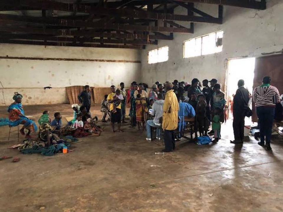 In the district of Gondola in western Mozambique, a warehouse has become a shelter for some 150 families displaced by Cyclone Idai.