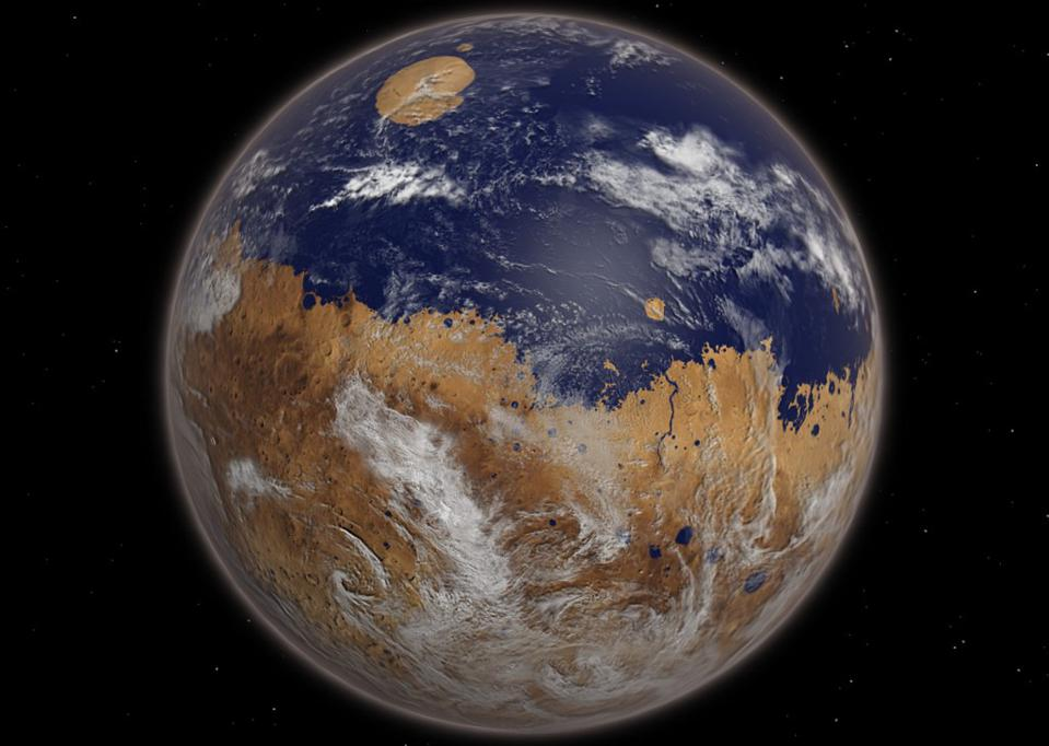 Mars, a frozen, icy, red planet today, may have been a life-rich watery world previously.