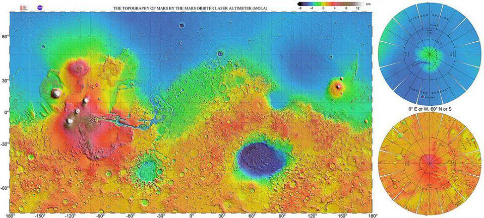 The northern 40% of Mars is roughly 5 kilometers lower in elevation than the southern part
