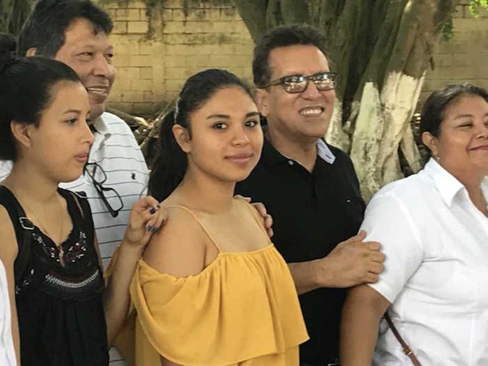 Carmen, 15 (center), attends the Instituto Perla del Ulúa in El Progresso, a region plagued by poverty and gang warfare. Aided in part by the UNICEF program, the school has improved the safety of the students and given them hope.