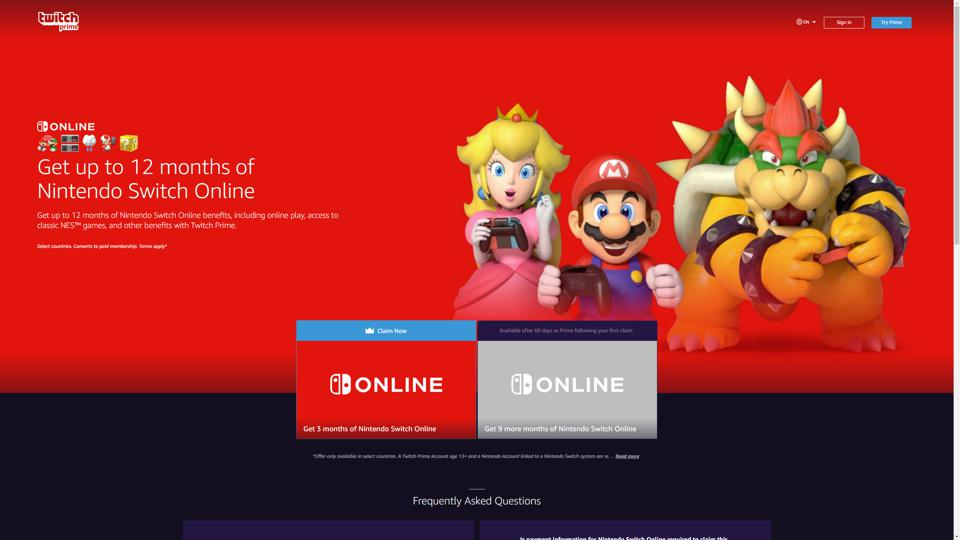 Amazon Prime Members Can Get 12 Months Of 'Nintendo Switch Online