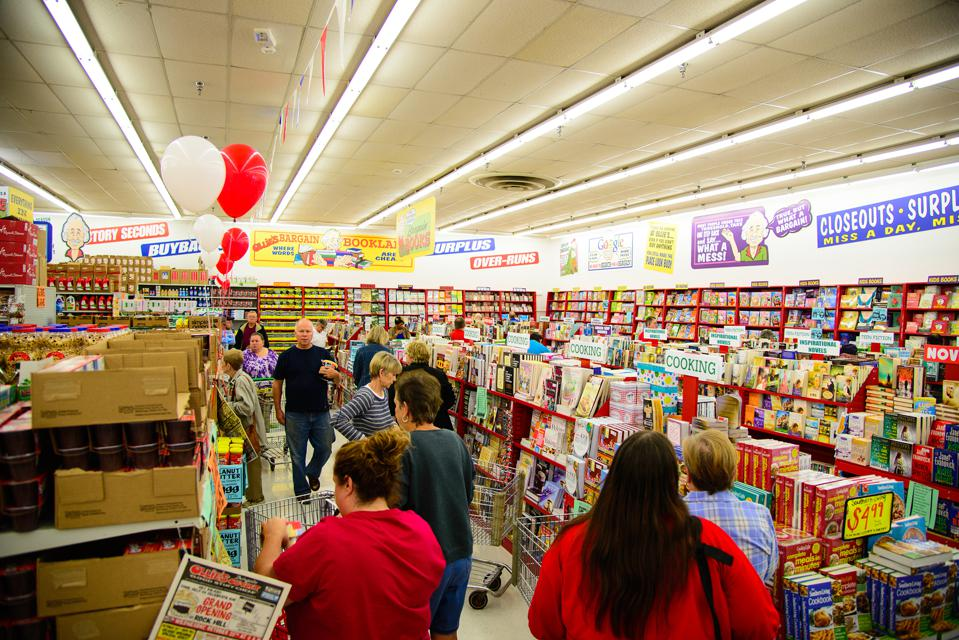 Shoppers peruse the book section at the Rock Hills, South Carolina Ollie's.