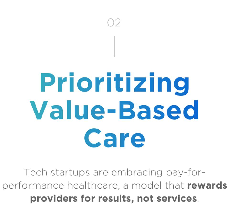 02 Prioritizing Value-Based Care. Tech startups are embracing pay-for-performance healthcare, a model that rewards providers for results, not services.