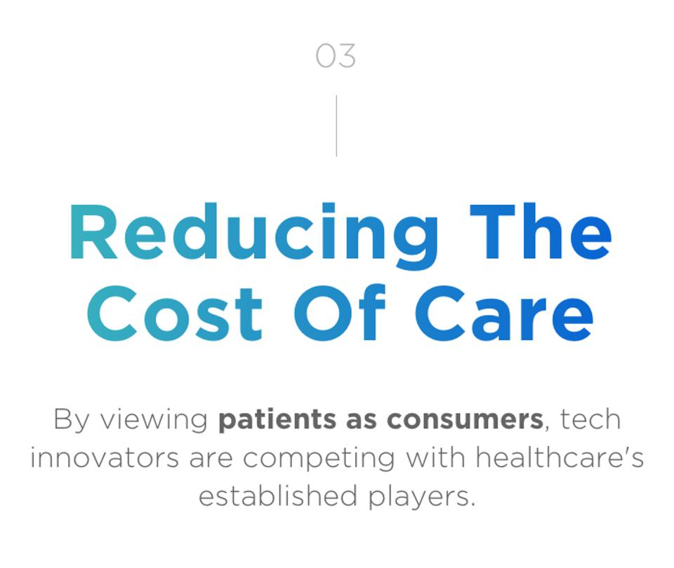 03 Reducing The Cost of Care. By viewing patients as consumers, tech innovators are competing with healthcare's established players.