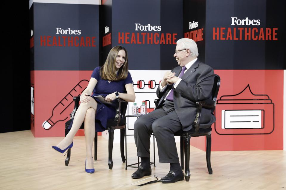 Moira Forbes and Stefano Pessina at Forbes Healthcare Summit 2018