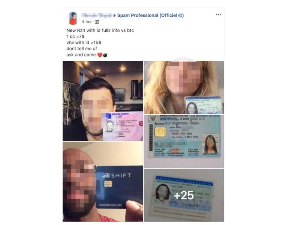 Facebook cybercrime ad for stolen credit card information.