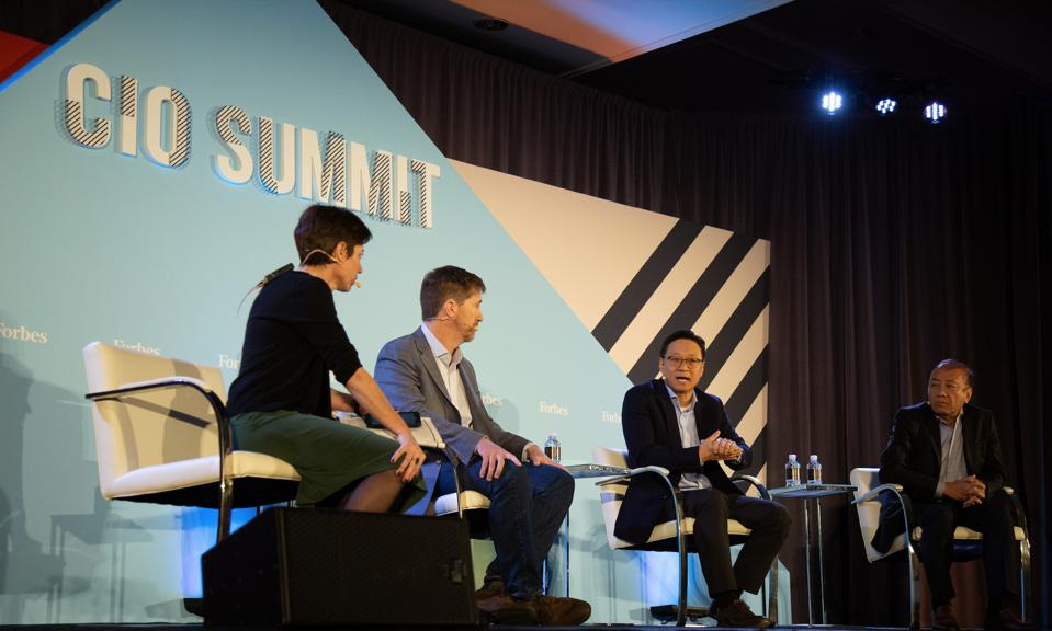 From left: Laura Mandaro, Forbes Media; Daniel Jones, Bext360; Ted Kim, Samsung SDS America; and  Frank Xiong, Oracle.