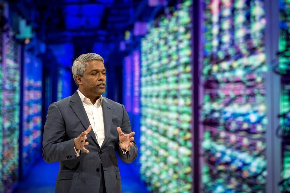 New Google Cloud CEO Thomas Kurian speaks at the company's Next developers' conference in San Francisco on Tuesday.