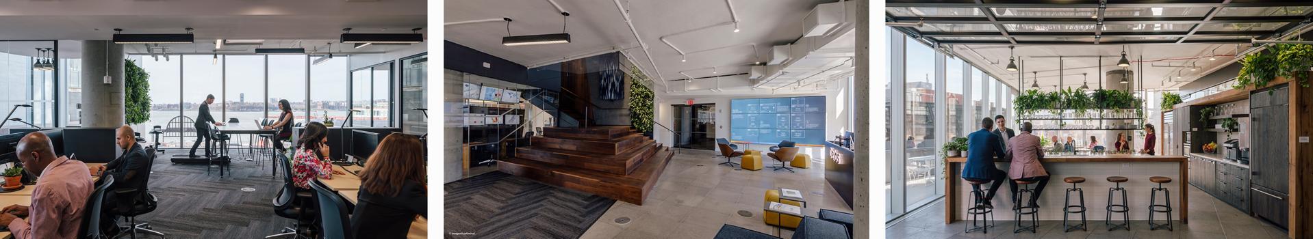 Interior photos of Delos' New York headquarters.