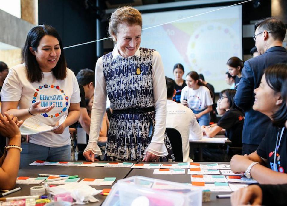 In October 2018, UNICEF Executive Director Henrietta H. Fore met with participants of ″Generation Unlimited″ boot camp at KMUTT Knowledge Exchange for Innovation in Bangkok, Thailand.