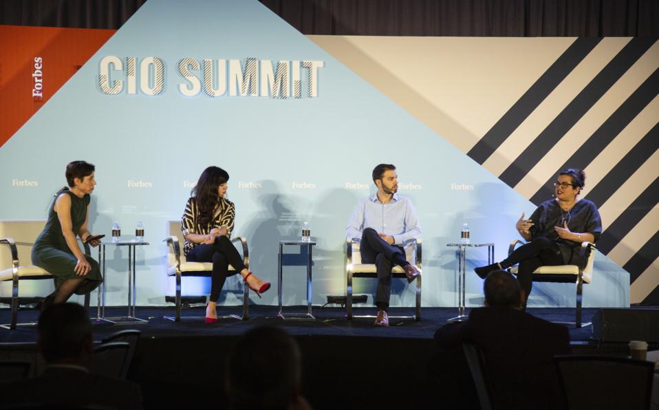 From left: Laura Mandaro, Forbes Media; Laura Gomez, Atipica; John Jersin, LinkedIn; and Nicole Sanchez, Vaya Consulting at the Forbes CIO Summit