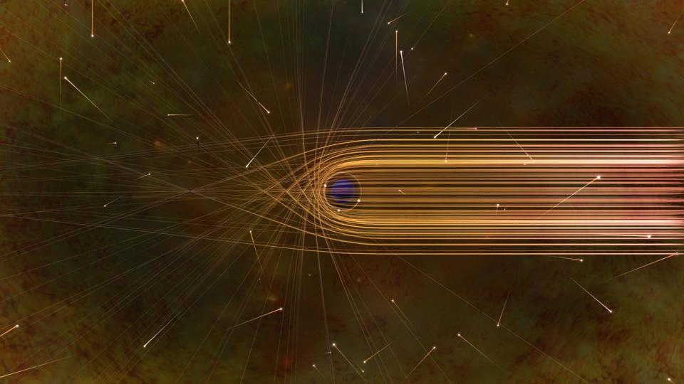 This artist's impression depicts the paths of photons in the vicinity of a black hole.