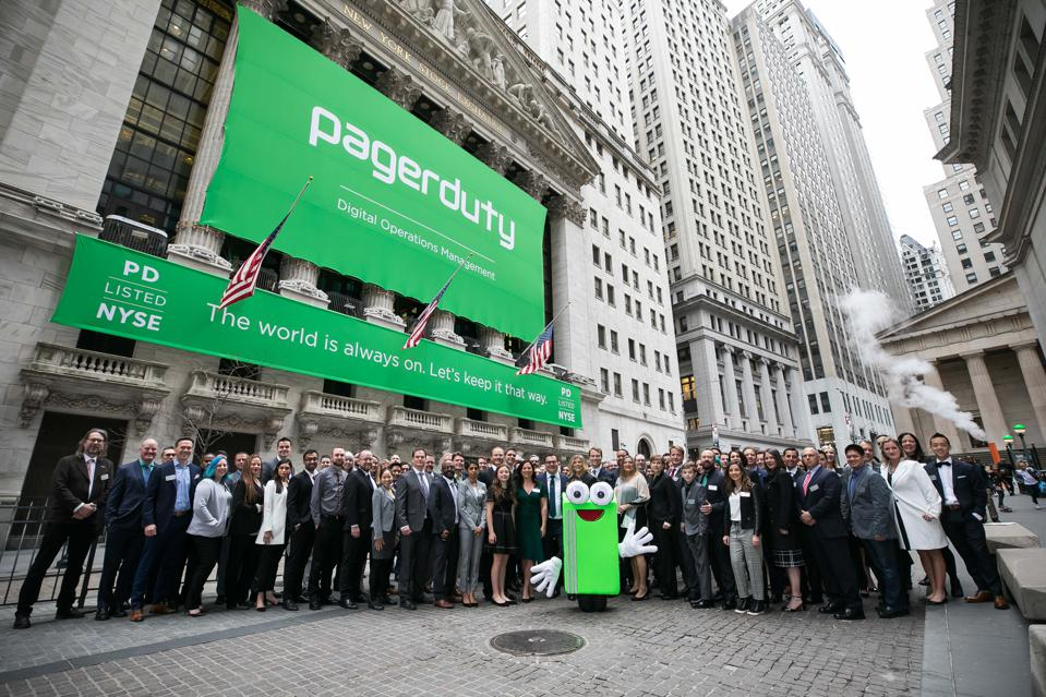 PagerDuty rings opening bell at New York Stock Exchange in April 2019 IPO.