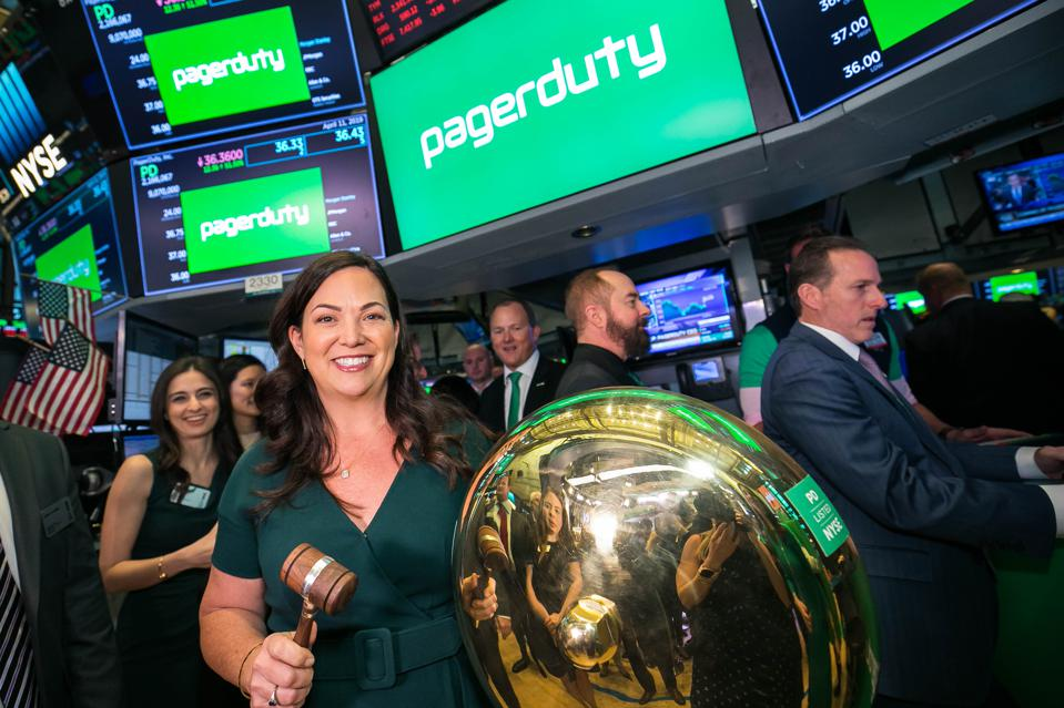 PagerDuty CEO Jennifer Tejada rings the opening bell at the New York Stock Exchange