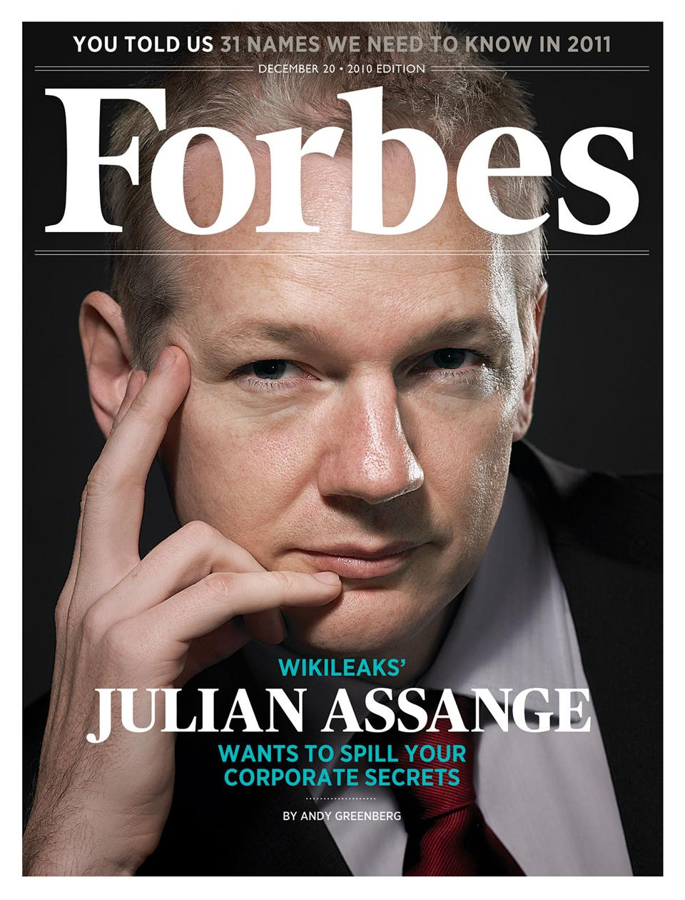 Julian Assange, cover star of Forbes December 2010 edition