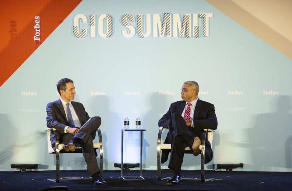 Peter High and M.K. Palmore at the Forbes CIO Summit 2019.