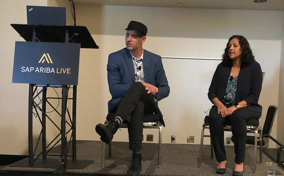 Justin Dillon, CEO at FRDM (L), talked about the sustainability imperative for procurement professionals with Padmini Ranganathan, global vice president of products and innovation for supplier risk, compliance, and sustainability at SAP Ariba.