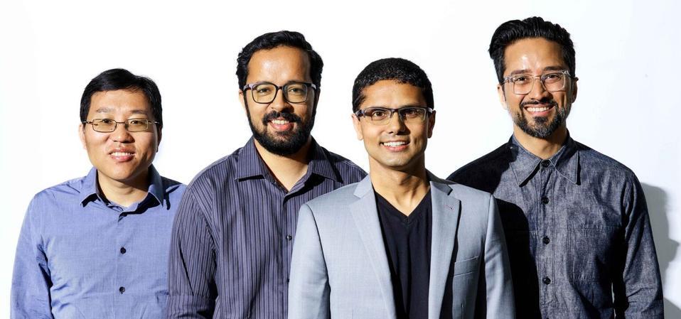 The Moveworks team (L to R): Jiang Chen, Vaibhav Nivargi, Bhavin Shah, and Varun Singh.