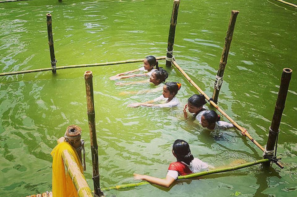 About 130,000 children in Bangladesh have completed UNICEF-supported swimming lessons through the SwimSafe program.