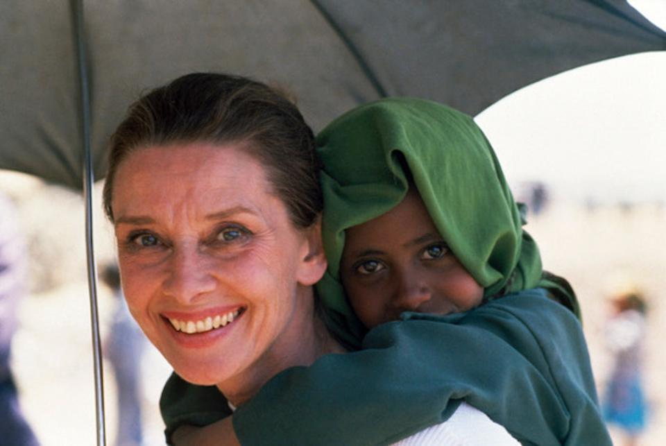 UNICEF Goodwill Ambassador Audrey Hepburn loved this photo of herself with a young friend in Ethiopia.