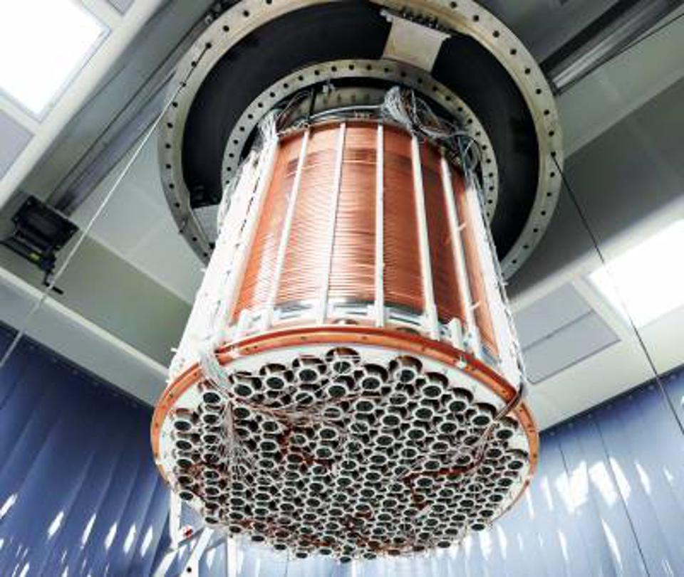 The XENON1T detector is shown here being installed underground in Italy's LNGS facility.