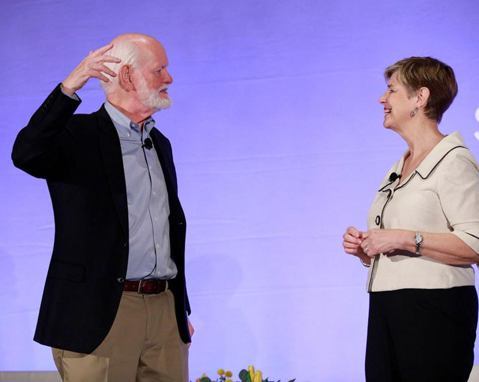 Dr. Marshall Goldsmith (L), and Sally Helgesen shared advice from their bestselling book about women and leadership at the recent SAP Ariba Live conference.