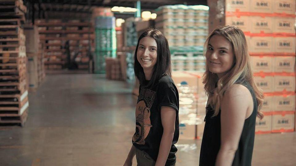 Rachel Feinberg (right) and Breanne Harrison-Pollock (left) at a factory in Los Angeles, April 2018. ATEYO