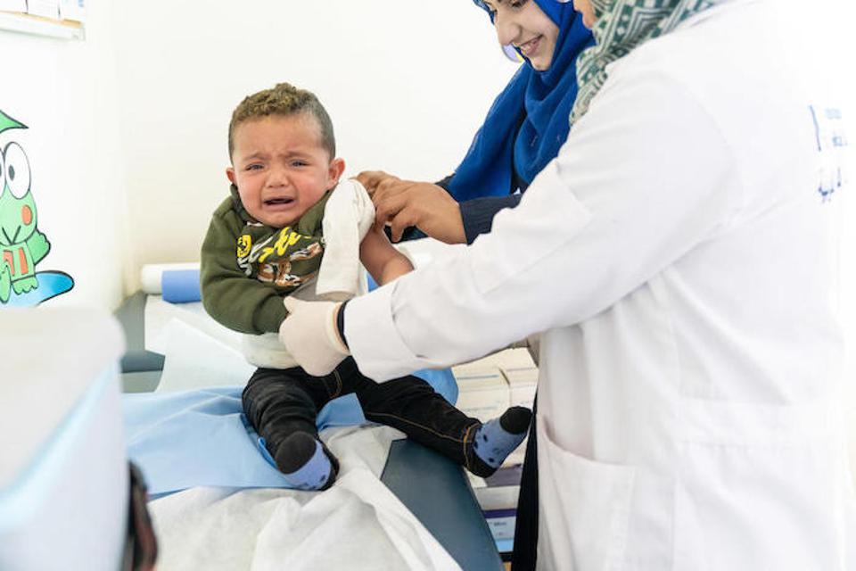 When Mohammad turned 1, his mother took him to the UNICEF-supported health center to receive his measles, mumps and rubella vaccine.