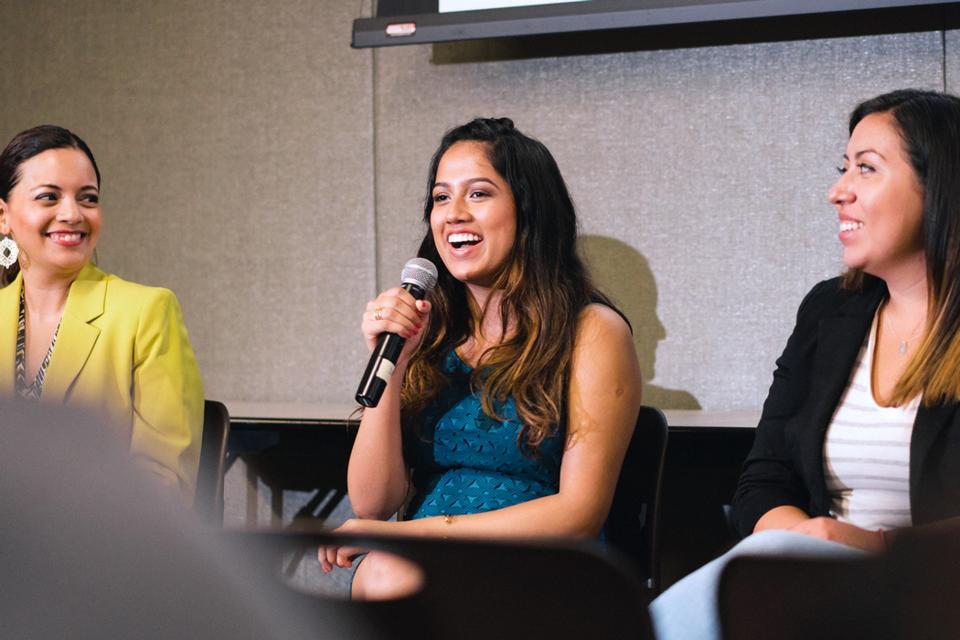 Shinjini Das speaks at the 2017 Silicon Valley LIT College Tour at San Jose State University. (Photo by Mark C.)