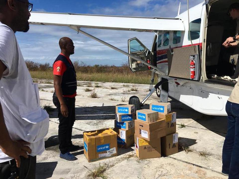 On April 30, 2019, medical supplies are transported by plane to Ibo Island, Mozambique, hard hit by Cyclone Kenneth.