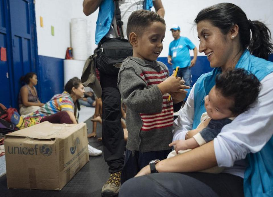 On April 24, 2019 in Cucuta, Colombia, UNICEF Communication for Development specialist Andrea de la Torre visits with children who recently arrived from Venezuela with their families.
