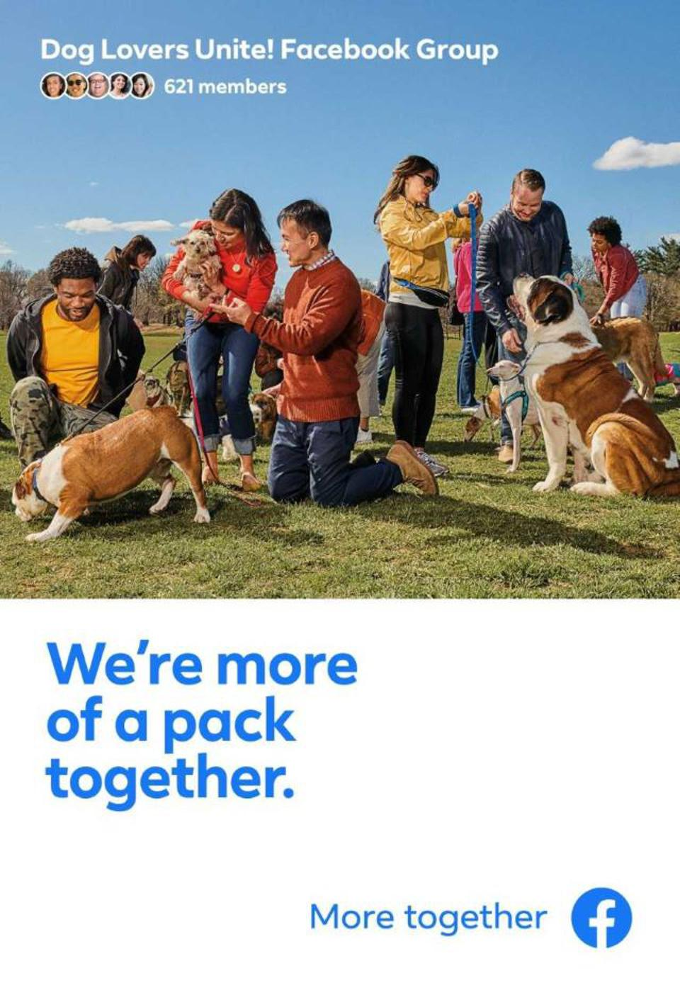 Out-of-home advertisement as part of Facebook's new ″More Together″ campaign.
