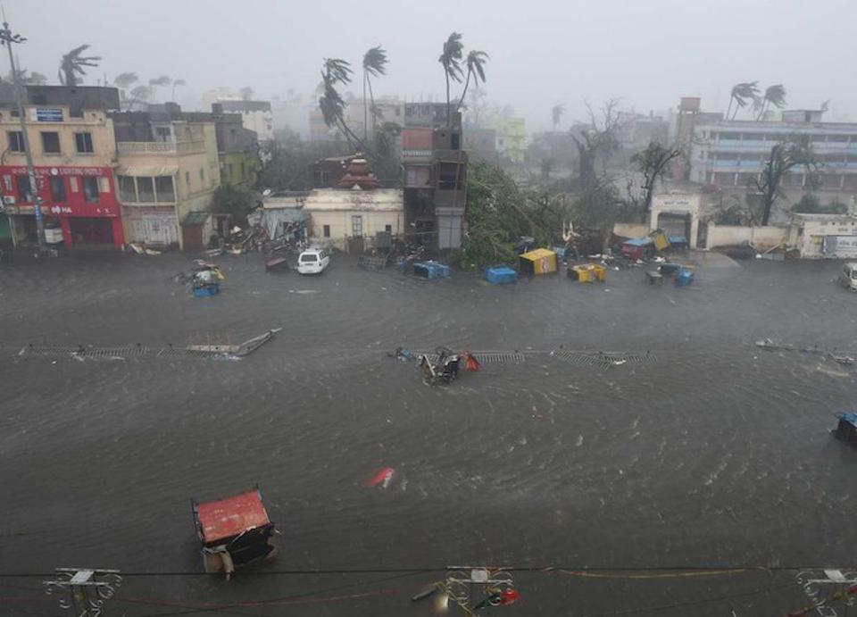 A view of flooding on Grand Road one hour after Cyclone Fani hit Puri, India on May 3, 2019.
