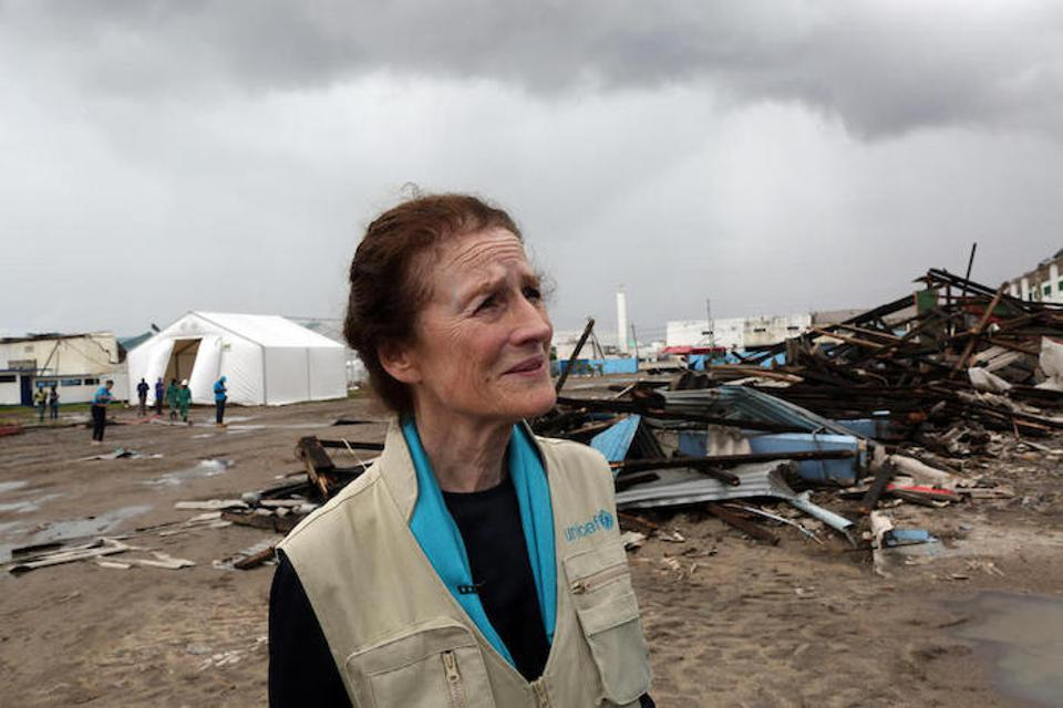 On March 22, 2019, UNICEF Executive Director Henrietta H. Fore visits a UNICEF warehouse damaged by Idai in Beira, Mozambique.
