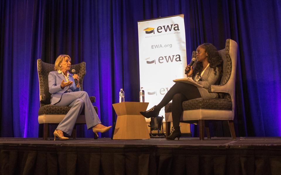 Education Secretary Betsy DeVos with the New York Times' Erica Green
