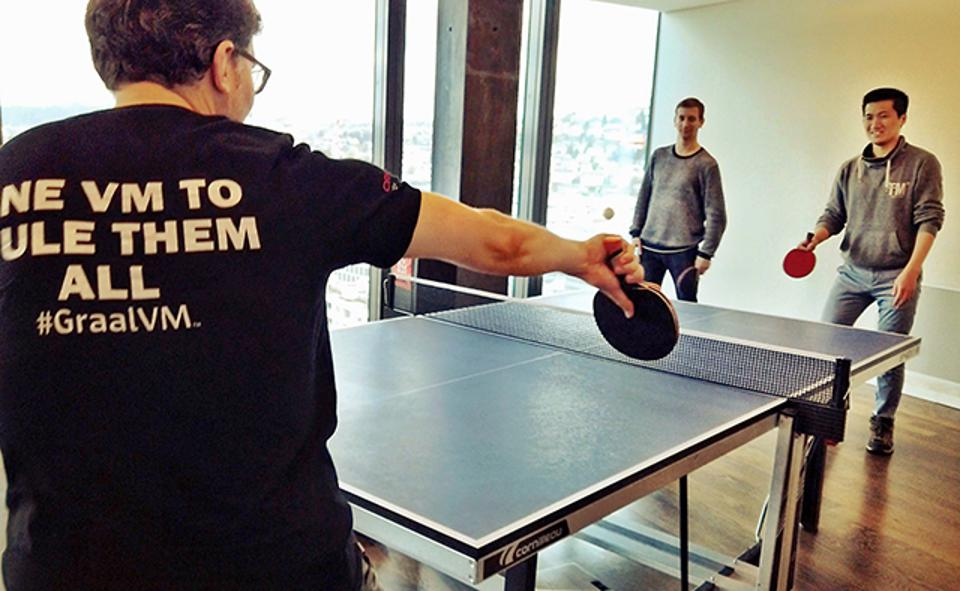 The Zurich-based GraalVM team often unwinds at the ping pong table.