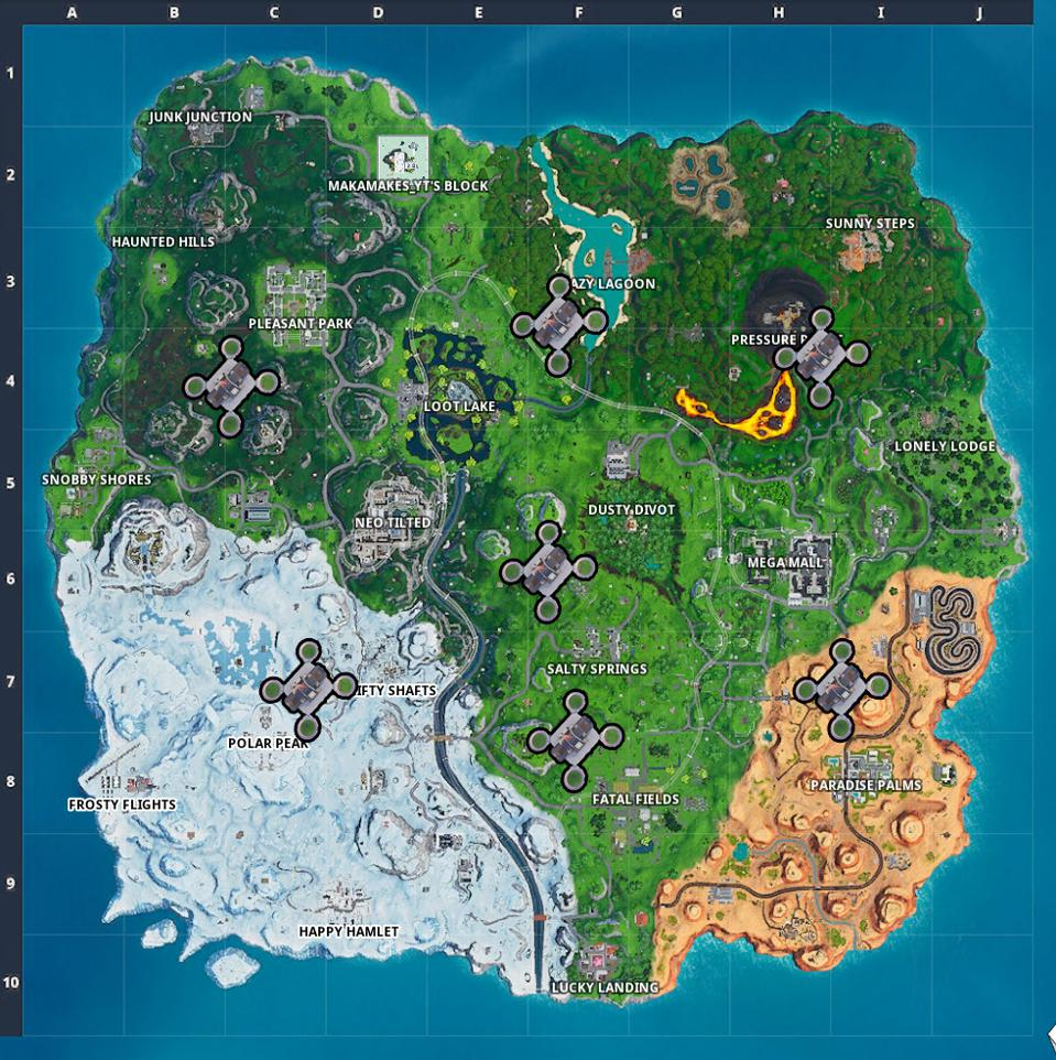 Fortnite' Challenge: Where To Visit All 7 Sky Platforms ... on puma map, jcpenney map, at&t wireless map, home depot map, world map, old navy map, target map, skype map, apple store map, frontgate map,