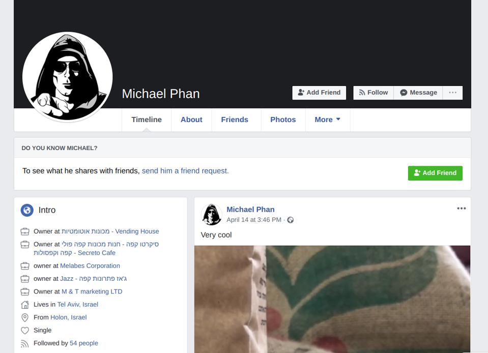 Facebook page for Michael Phan