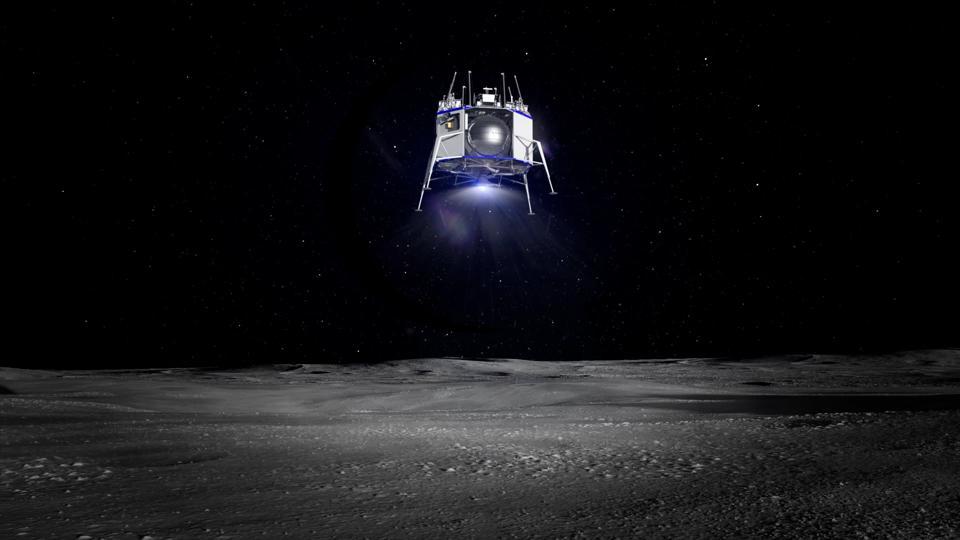 Mockup of Blue Moon lander in action
