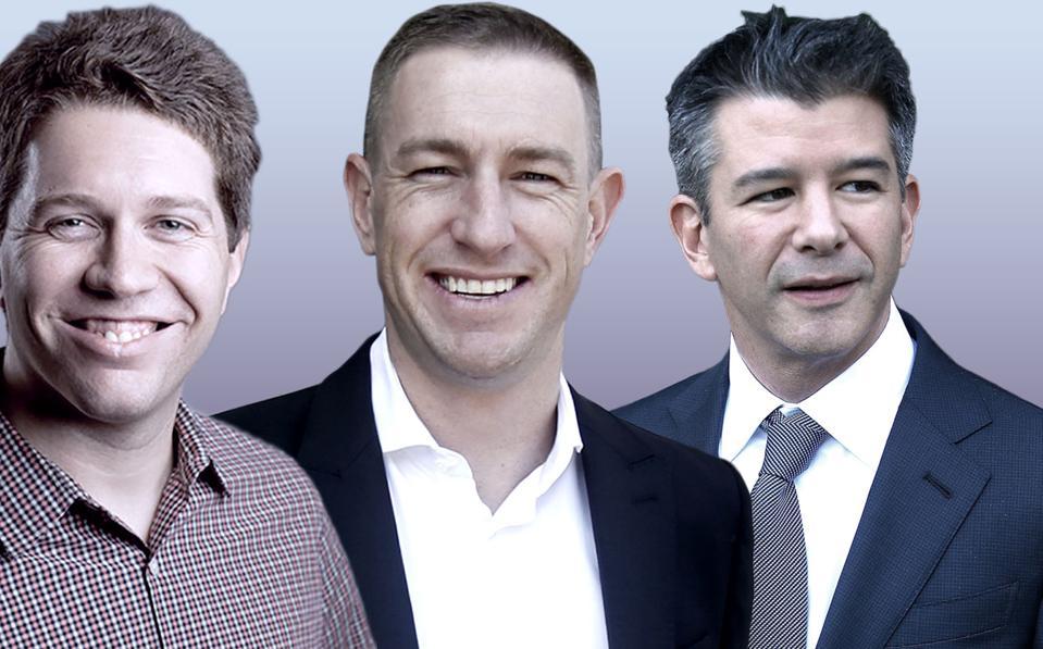 Uber cofounders Garrett Camp, Ryan Graves and Travis Kalanick.