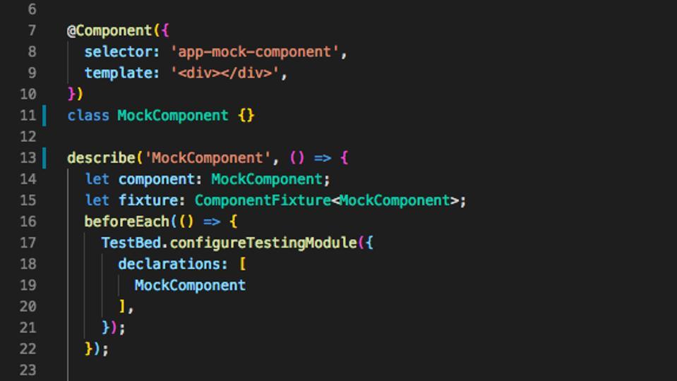 Mock Jasmine test component
