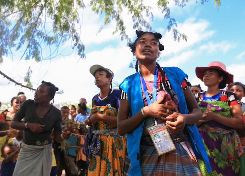 UNICEF-trained Mother Leaders sing an educational song during a celebration in Tanandava, Madagascar in 2019.